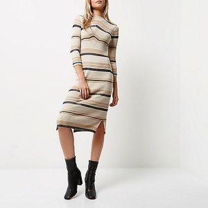 River Island Stripped Knit Midi Dress